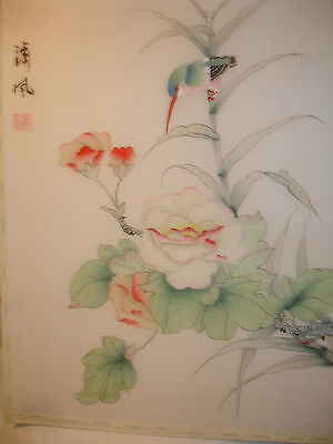 Chinese painting on silk woodpecker and a rose   signed 41cmx26cm