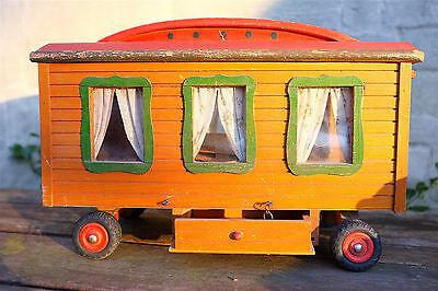 vintage toy wooden showmans wagon doll's house
