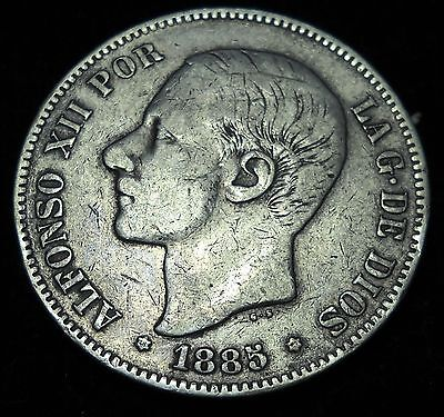 + Spain 1885 5 Pesatas. Crown. World - Foreign Silver Coin. Free Shipping!
