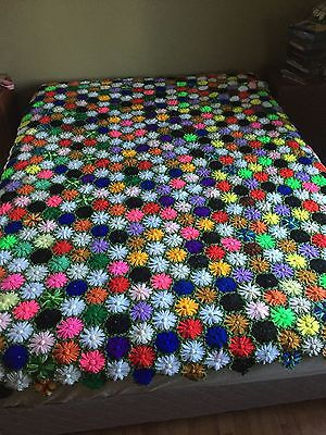 Beautiful RARE Multicolored REVERSIBLE FLORAL Afghan Crochet Knit Blanket