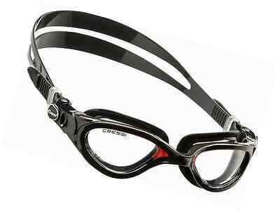 Cressi Adult Flash Swimming Goggles - Black/Red - Clear Lens