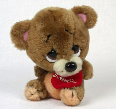 Vintage VALENTINE Plush Bear I NEED YOU large Eyes HEART