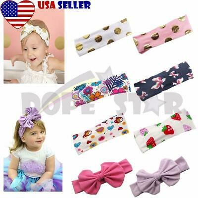 8 Pieces Girls Kids Toddler Baby Headband Wrap Hair Bow Flower Band Headwear