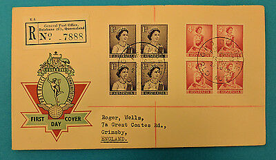 Z5006 APO official First Day Cover Reg 2 Feb 1959 QE2 stamps: blocks of 4
