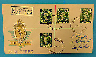 Z5011 APO official FDC Reg St. Pauls NSW Oct 1955: SA first stamp