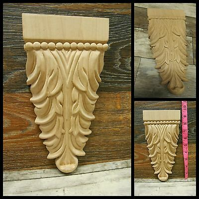 "Wood Carved -Drop Applique  -4 1/2"" W- 9 1/4"" H -1 1/4""- HardWood-Maple ref.Ca8"