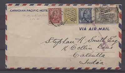 Canada #151/C1 1930 Double Weight Airmail Cover to India 4 Colour Franking F-72