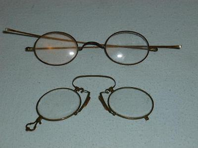 Two Vintage Wire Rim Frame Eyeglasses Spectacles Gold Color Very Nice!
