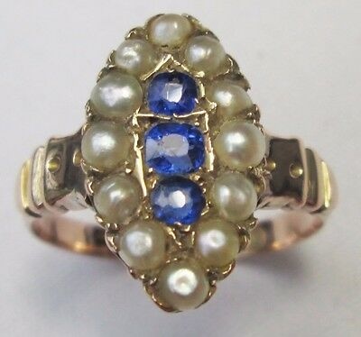 Victorian 9ct Gold Cornflower Kashmir Sapphire Natural Pearl Marquise Ring 1892