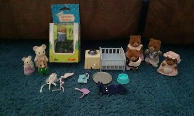 Calico critters sylvanian families Vintage Mice Bear family 1985 Crib Bottle