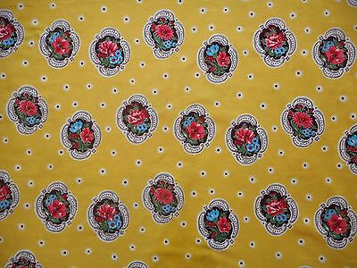 Pretty unused vintage 50's barkcloth floral fabric, 1 yd lengths, yellow, pink