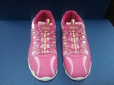 Graceland Womens Trainers pink with yellow piping size UK 5.5