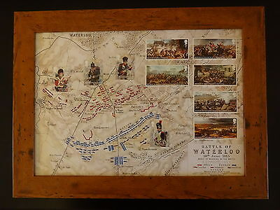 10 Stamps Of The Battle Of Waterloo By The Royal Mail Presented In A Brown Frame