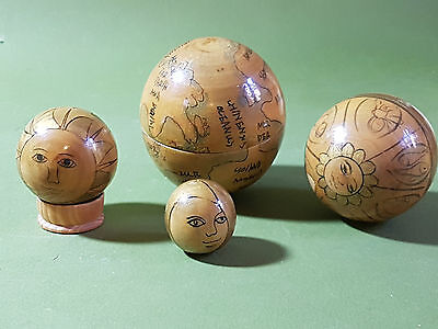 Unusual Hand Painted Wood World Multicultural Globe - Russian Doll Type 8 Piece