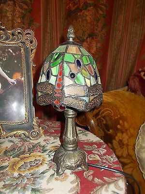 Art Deco Dragonfly Tiffany Table Lamp Glass Shade Metal Stand