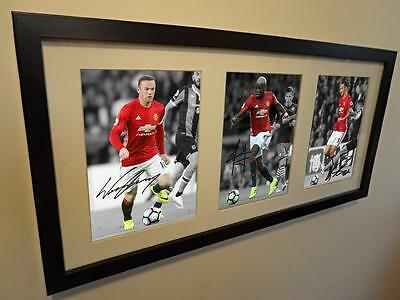 Signed Rooney-Pogba-Ibrahimovic Manchester United Photo Picture Photograph Frame