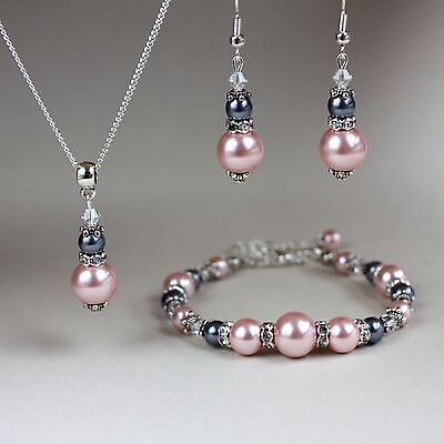 Vintage blush pink grey pearl crystal silver wedding bridesmaid jewellery set
