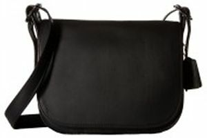 Coach Leather Saddle Bag   Dark Antique Nickel Black