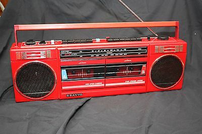 Sanyo Model M W703 Vintage Red Boombox Dual Tape Decks