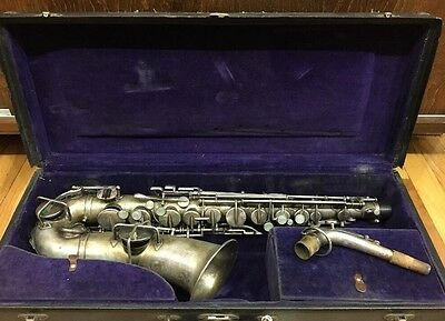 Buescher True Tone Silver Alto Saxophone Gold wash bell Original Case, Excellent