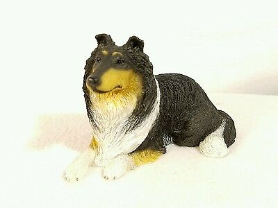 Collie Dog Figure Black, Tan, and White