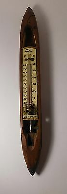 Vintage British Made Wooden Weaving Loom Shuttle with Tolni Thermometer