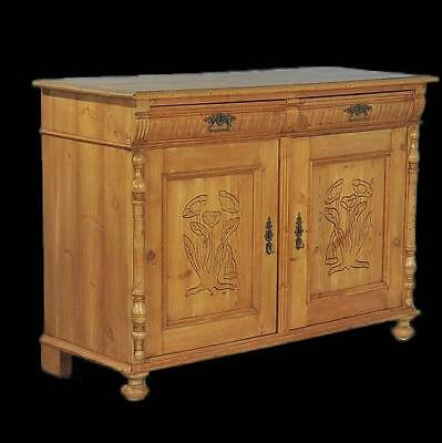 Antique Danish Pine Sideboard with Carved Panel Doors, circa 1870