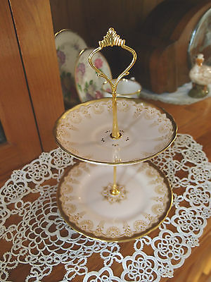 2 Tier Cake  Biscuit Plate Stand high tea Royal Tuscan Pink