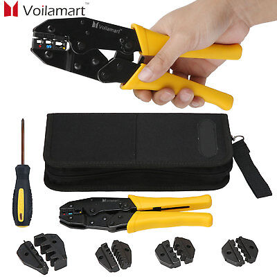 Voilamart Cable Crimper Tool Kit Wire Terminal Ratchet Plier Crimping Set