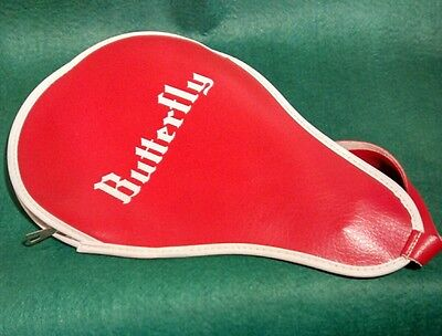 Vintage BUTTERFLY Table Tennis Ping Pong Paddle Red Bat Case Retro Sports