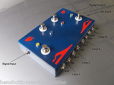 Quad 4 Channel Looper Pedal Effects Send/Receive True Bypass  Blue/Red
