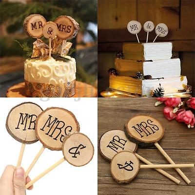 3x Wood Mr & Mrs Wedding Cake Topper Stick Decoration Rustic Anniversary Party