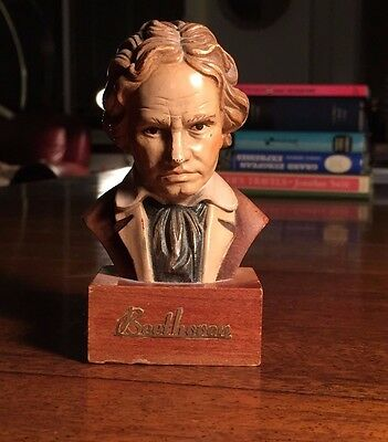 ANRI TORIART BEETHOVEN WOOD-EN BUST  Italy Hand Carving Statue Vintage Ludwig