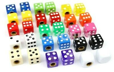 Bicycle Dice Valve Caps - Sold In Pairs - Huge Range Of Colours - Old School