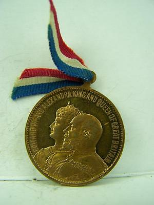 Coronation 1902 George VII and Alexandra medal with ribbon          627