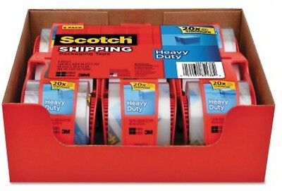 """3M Scotch Clear Shipping Packing Tape 2x1000"""" 6 Rolls w/Dispenser Heavy Duty NEW"""