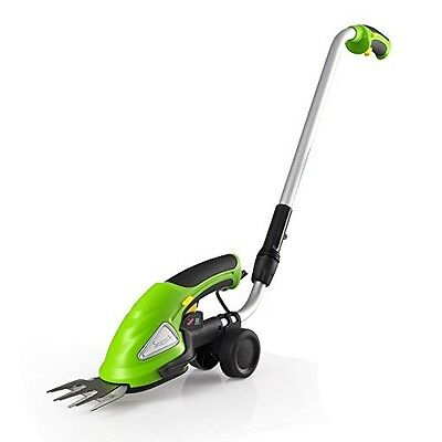 SereneLife Cordless Push Grass Cutter Shears, Wheeled Electric Hedge Shrubber