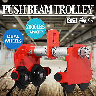 1 Ton Push Beam Trolley Adjustable Dual Wheels Powder Coat Finish Terrific Value
