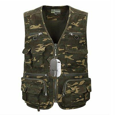 Zicac Outdoor Camouflage Camo Multi-pocketed Fishing Vest Multifunction Mesh UK