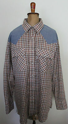 LEVI'S VINTAGE 1970'S ~ Rockabilly Brown Plaid & Blue Chambray Western Shirt XL