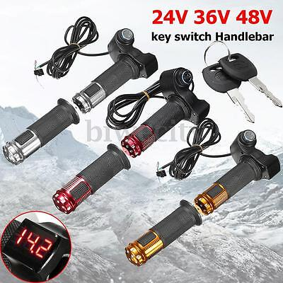 24V 36V 48V Electric Scooter Throttle Grip Key Handlebar LED Digital Meter