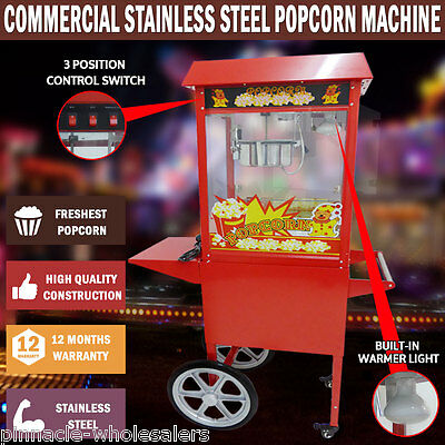 NEW 1370W Commercial Stainless Steel Red Popcorn Machine Cooker Tempered Glass