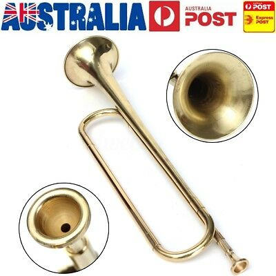 AU B Flat Trumpet Gold School Band Tone Bugle For Student Kids Military Beginner