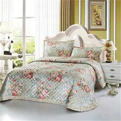 Patchwork Quilted Bedspread Coverlet Set Super King Size Bed 100% Cotton Floral