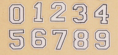 BLACK NUMBERS IRON ON / SEW ON PATCH Embroidered Badge Motif PT167