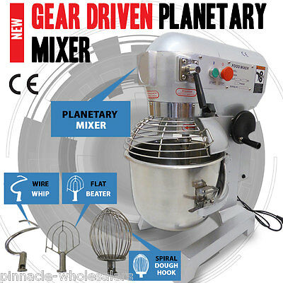 NEW 20L 3-Speed Gear Driven Food, Dough Planetary Mixer Stainless Steel Bowl TOO
