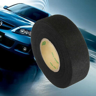 Black Flannel 25mmx15m Car Roll Wiring Felt Adhesive Harness Tape Cable Looms