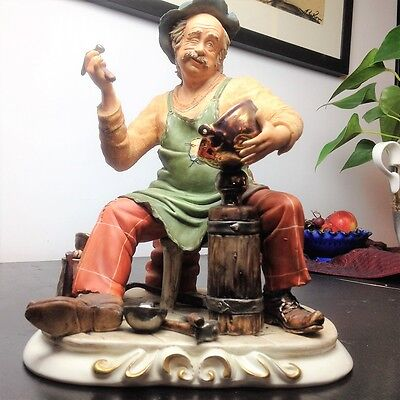 Vintage Large Capodimonte The Coppersmith by Zanetta, Nr Perfect, 11in/28cm tall