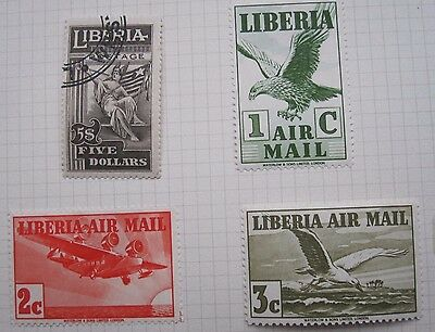 4  Liberia Stamps ( $5  + 3 Mh)  From Old Album