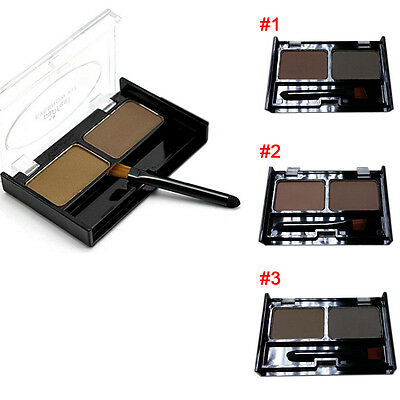 New 2 Color Mix Natural Waterproof Eyebrow Powder Brow Makeup Shadow With Brush